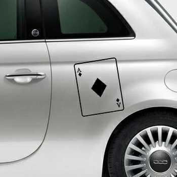 Ace of Diamonds Card Fiat 500 Decal