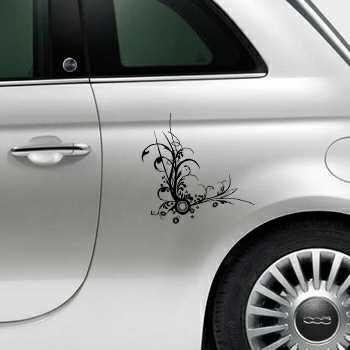 Swirls flower design Fiat 500 Decal