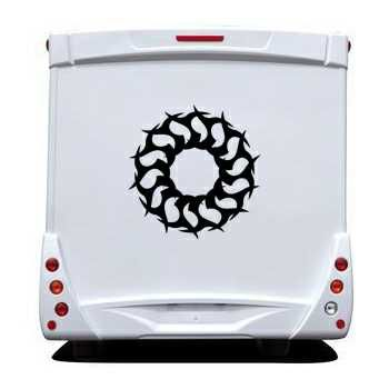 Autocollant Camping Car Cercle Tribal