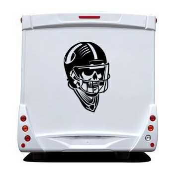 Sticker Camping Car Tête de Mort Casque Football Américain