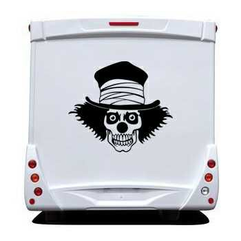 Sticker Camping Car Tête de Mort Clown