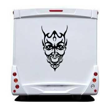 Sticker Camping Car Tête de Mort Démon 14