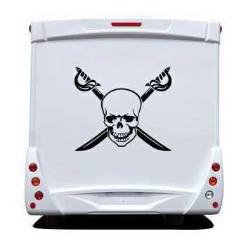 Crossed Swords Skull Camping Car Decal 24