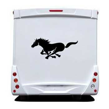 Sticker Camping Car Cheval Galop
