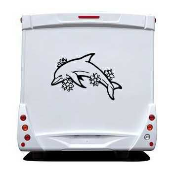 Flowers Dolphins Camping Car Decal