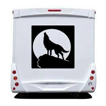 Sticker Camping Car Loup Hurlant à la Lune