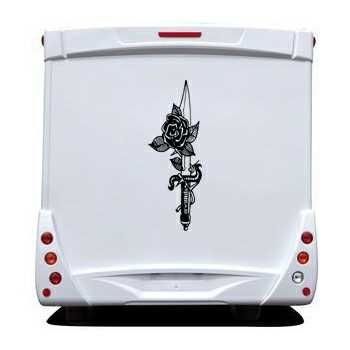Knife Rose Camping Car Decal