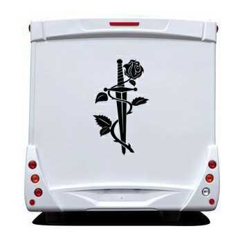 Knife Rose Camping Car Decal 2