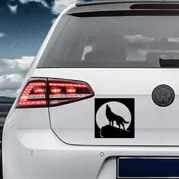 Wolf howling at the moon Volkswagen MK Golf Decal