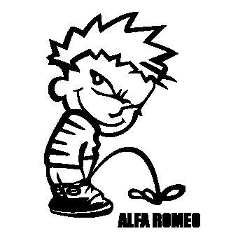 Calvin pisses ALFA ROMEO Humorous Sweat-shirt