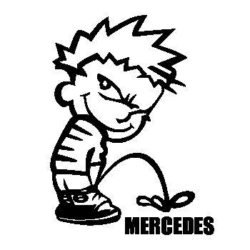 T-shirt Humour Calvin Pisse MERCEDES