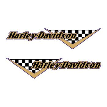 Set of 2 Harley Davidson checkered logo tank decals 2