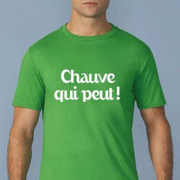 """T-shirt rigolo """"Chauve qui peut !"""""""