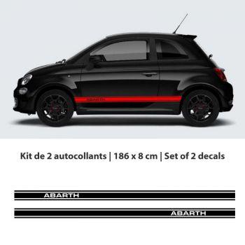 Fiat 500 Abarth car stripes stickers set