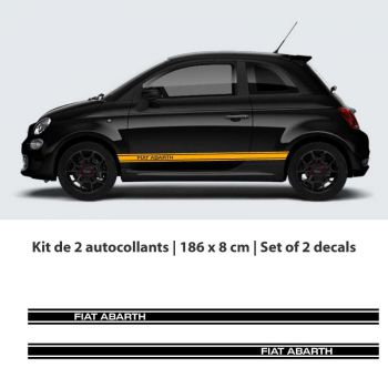 Fiat 500 Abarth car stripes stickers set - 2nd model