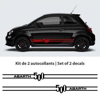 Fiat Abarth 500 Hatchback car stripes stickers set