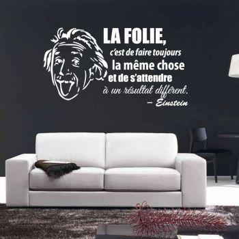 "Autocollant Citation Einstein ""La Folie"""