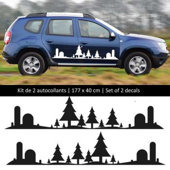 Sticker Set Kit Dacia Duster style Forest side stripes decals