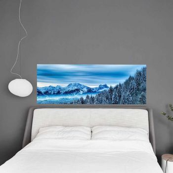 Headboard Decal Mountains Trees Snow