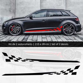 Sticker Set Kit Audi A3 style Racing side stripes decals