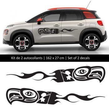Kit Aufkleber Stickers Bande Seitenleiste Citroën C3 style Oiseau Feu Maya