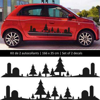 Kit stickers bandes bas de caisse Renault Twingo sticker Forêt