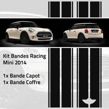 Aufkleber-Kit-Streifen Racing Mini One und Cooper 2014 (Motorhaube, Kofferraum und Stoßstange)