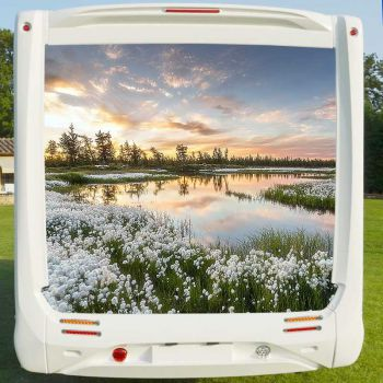 Deco Sticker Camping Car Lac Fleurs