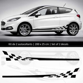 Kit stickers bandes bas de caisse Ford Fiesta style Racing