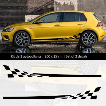 Kit stickers bandes bas de caisse Volkswagen Golf style Racing