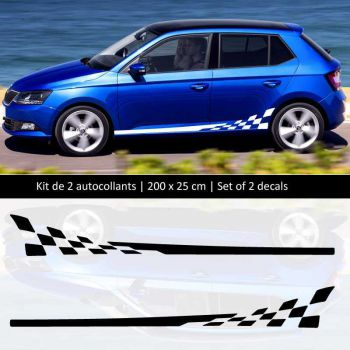 Kit stickers bandes bas de caisse Škoda Fabia style Racing