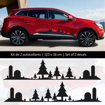 Kit stickers bandes bas de caisse Renault Kadjar style Forêt