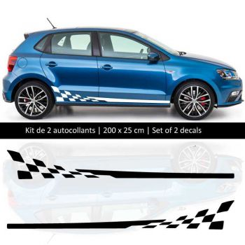 Kit stickers bandes bas de caisse Volkswagen Polo style Racing