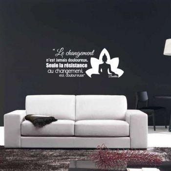"""Sticker Citation Bouddha """"Le changement n'est jamais douloureux, seule la résistance au changement est douloureuse."""""""