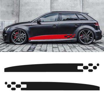 Kit stickers bandes bas de caisse Audi A3 Drapeau Damier