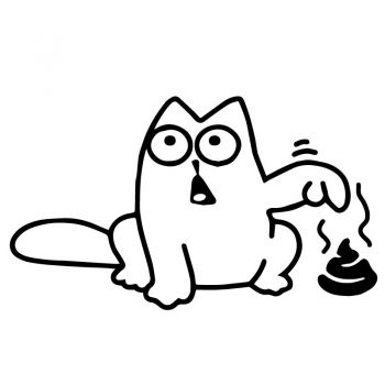 Sticker Simon's Cat Caca, autocollant chat