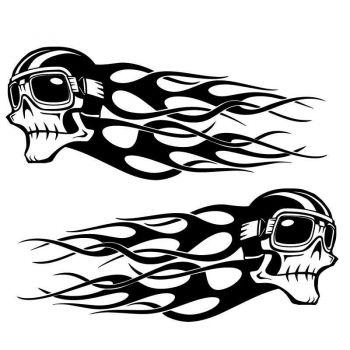 Set of 2 Harley Davidson Skull Flames decals Pilot