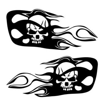 Set of 2 Style Harley Davidson Skull Fire Decals