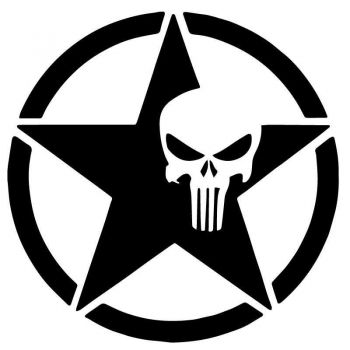 Sticker US ARMY STAR Decal Punisher Small