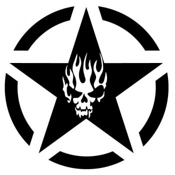 Sticker US ARMY STAR Decal Skull Fire