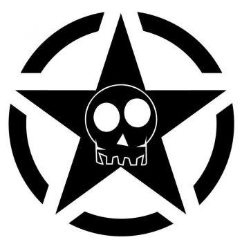 Sticker US ARMY STAR Decal Skull Comic