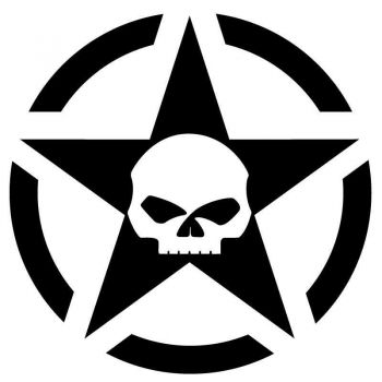 Sticker US ARMY STAR Decal Skull Harley Davidson