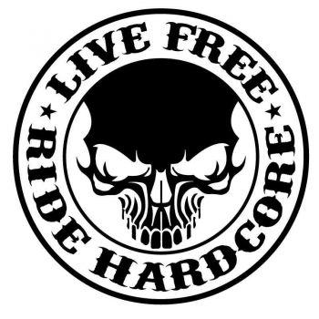 Autocollant Sticker Live Free Ride Hardcore Skull Harley Davidson