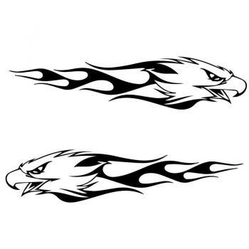 Set of 2 Harley Davidson Logo Eagle Flames Decals