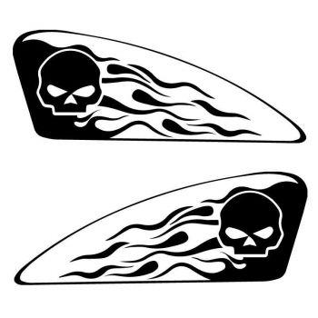 Set of 2 Harley Davidson Logo Skull Flames Reservoir Decals