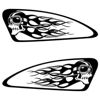 Set of 2 Harley Davidson Skull Helmet Flames Reservoir Decals