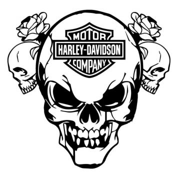 Sticker Logo Harley Davidson Skull Roses Decal