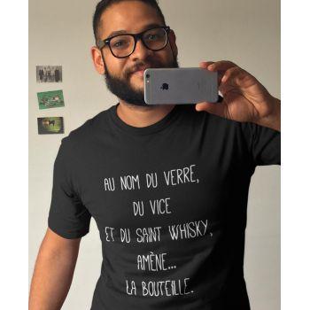 Tee-shirt Nom du Verre, du Vice et du Saint Whisky, Amène