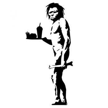 Sticker Banksy - L'Homme des cavernes avec Fast Food