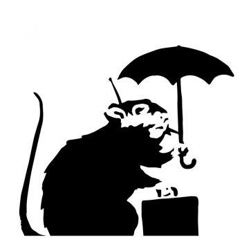 Sticker Banksy -  Rat Parapluie